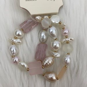 4/$20 A New Day Set of Pink & Pearl Bead Bracelets
